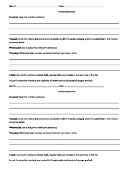 Weekly Mentor Sentence Worksheet/Lesson