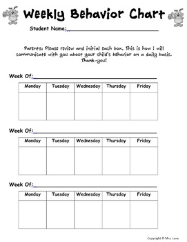 Weekly and Monthly Behavior Charts (Behavior Management Tools)