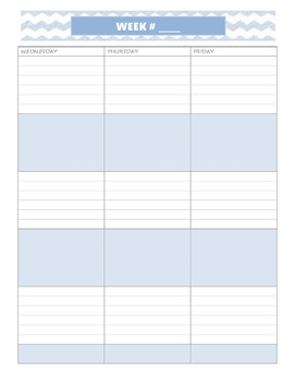 Weekly/Monthly Planner Blue Chevron