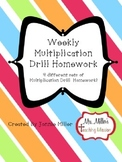 Weekly Multiplication Drill Homework! 4 Different Sets!