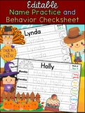 Weekly Name Practice and Behavior Check Sheet - Autumn Fall -  Editable
