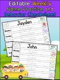 Weekly Name Practice and Behavior Check Sheet - School Theme Editable