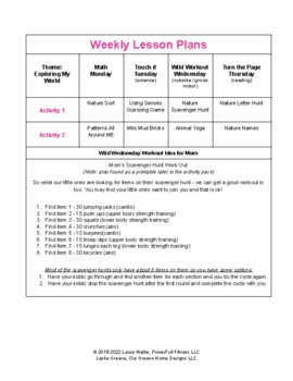 Weekly Nature Lesson Plan for Preschool, Pre-K, Kindergarten