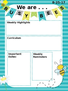 Weekly Newsletter - Bumble Bee Themed