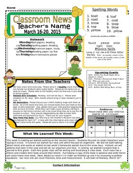 Weekly Newsletter Cover Sheet Template - March