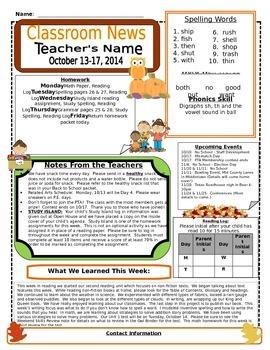 Weekly Newsletter Cover Sheet Template - October/November