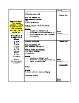 Weekly Newsletter & Homework Guide Template
