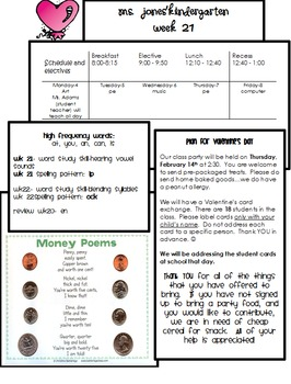 Parent Newsletters Kindergarten All Year