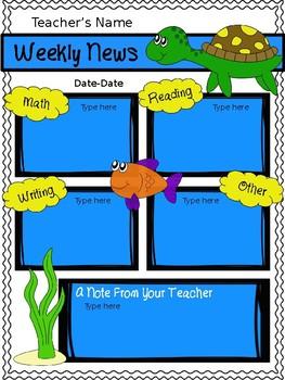 Weekly Newsletter Ocean Themed {Editable}