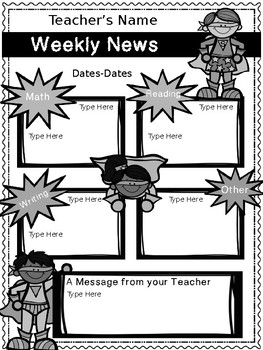 Weekly Newsletter Superhero Version! {Editable}