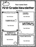 First Grade Weekly Newsletter Template {editable}