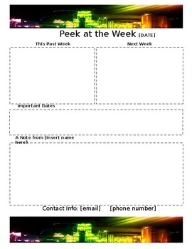 Weekly Newsletter Template CITY LIGHTS