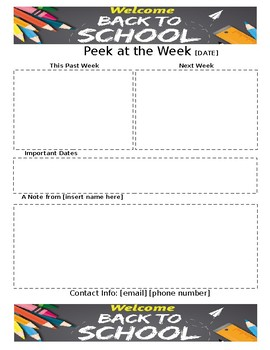 Weekly Newsletter Template BACK TO SCHOOL