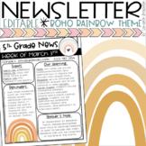 Weekly Newsletter Template Boho Modern Muted Rainbow Theme EDITABLE