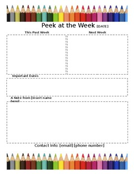 Weekly Newsletter Template COLORED PENCILS