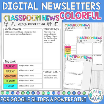 Weekly Newsletter Template COLORFUL for Google Slides and PPT