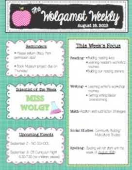 weekly newsletter template editable teaching resources teachers