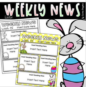 Weekly Newsletter Template Editable Easter Spring Bunny Pastel Theme