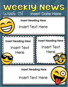 Weekly Newsletter Template Editable Emoji Smiley Face Happy Theme