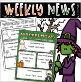 Weekly Newsletter Template Editable Halloween October Fall Autumn Theme