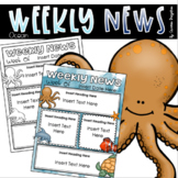 Weekly Newsletter Template Editable Ocean Creatures Under the Sea Water Theme