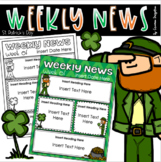 Weekly Newsletter Template Editable St. Patrick's Day March Leprechaun Theme