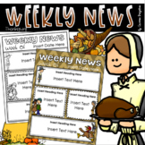 Weekly Newsletter Template Editable Thanksgiving November Turkey Fall Theme