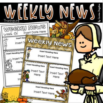 Weekly Newsletter Template Editable Thanksgiving November Turkey Fall Theme
