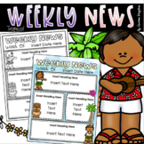 Weekly Newsletter Template Editable Tropical Tiki Luau Hawaii Beach Theme