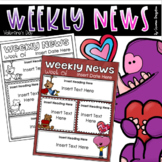 Weekly Newsletter Template Editable Valentine's Day February Winter Theme