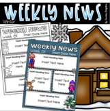 Weekly Newsletter Template Editable Winter Snow January Theme