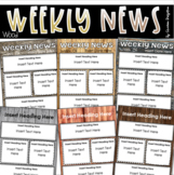 Weekly Newsletter Template Editable Wood Rustic Farmhouse Shabby Chic Theme