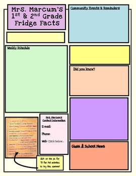 Weekly Newsletter Template Editable by Mrs Marcum's Materials ...