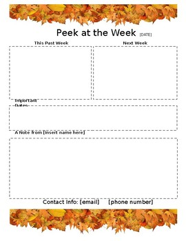 weekly newsletter template fall by gillespie gifts tpt
