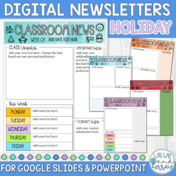 Weekly Newsletter Template Holiday Themed for Google Slides and PPT