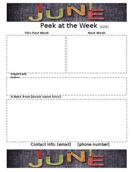 Weekly Newsletter Template JUNE