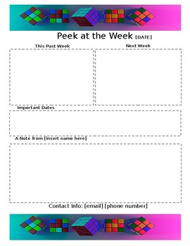 weekly newsletter template rubiks cube by gillespie gifts tpt