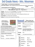 Weekly Newsletter Template Third Grade