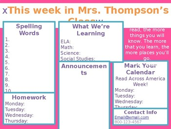 Weekly Newsletter Template for Seesaw