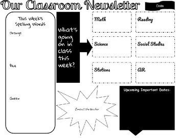 Weekly Newsletter Template with Differentiated Spelling