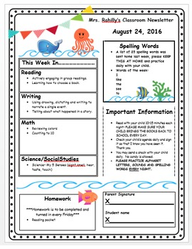 Weekly Newsletter Under the Sea Theme