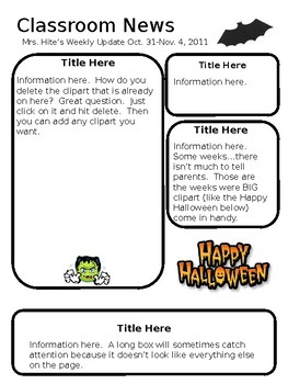 Weekly Newsletter and Homework Sheet