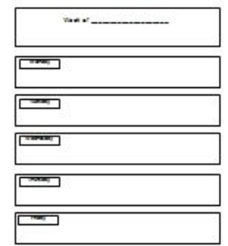 Weekly Newsletter for students to fill in/parent communication