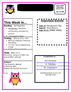 Weekly Newsletter with Owls