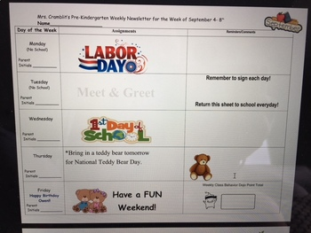 Weekly Newsletters and Homework Sheet