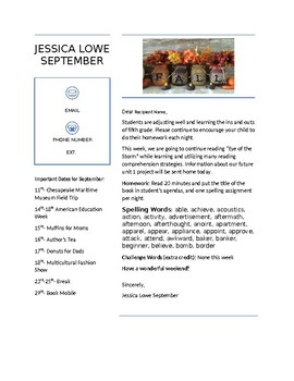 Weekly Newsletters to Parents