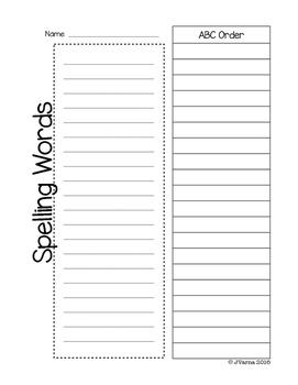 Weekly No-Prep Spelling Activities