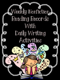 EDITABLE SKILLS BASED Weekly Reading Logs NONFICTION (CCSS