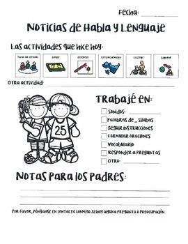 Notes Home for Speech Therapy - Bilingual