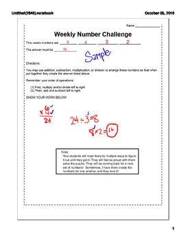 Weekly Number Challenge SAMPLE
